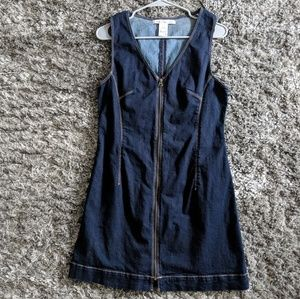 Adorable denim zip-front dress